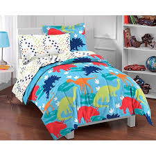 dream factory dinosaur prints 5 piece twin size bed in a bag with
