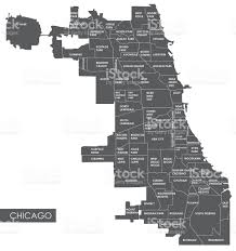 Chicago Map Usa by Vector Map Chicago District Stock Vector Art 639628580 Istock
