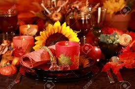 setting table for thanksgiving table setting with autumn decoration for thanksgiving stock photo