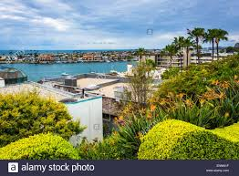 houses and view of newport beach from corona del mar california