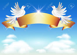 doves in the clouds and golden ribbon royalty free cliparts