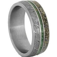 meteorite wedding band meteorite ring with dinosaur bone and green enamel in titanium