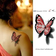 temporary tattoos sticker for back 3d butterfly
