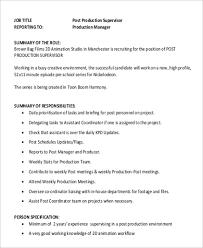 Supervisor Job Description Resume by Production Director Job Description Content Manager Job
