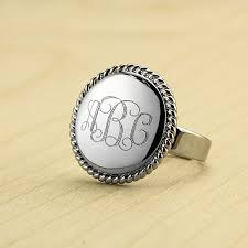 gold monogram ring buy 18k white gold plated personliazed monogram ring by beverly