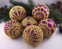 Purple Gold Christmas Decorations Set Of Crochet Baubles Christmas Ornaments Christmas