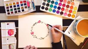 how to paint a watercolor flower wreath youtube