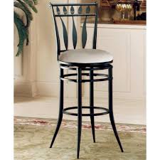 Comfortable Bar Stools Black Wooden Stool With Round White Leather Seat Plus Bars On The