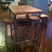 reclaimed wood pub table sets pipe base pub table with reclaimed wood top by steven garceau mans