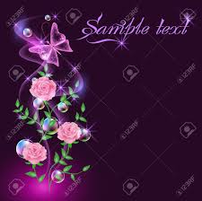 glowing background with smoke flowers butterflies and bubbles