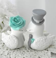 wedding cake topper love birds ivory robins egg blue and grey