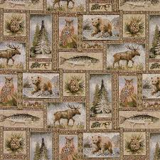 Tapestry Fabrics Upholstery Bears Moose Trees Acorns Fish Theme Tapestry Upholstery Fabric By