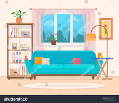 living room furniture cozy interior sofa stock vector 413982919
