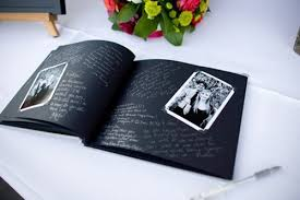 black guest book guest book make a scrapbook of photos for guests to sign around