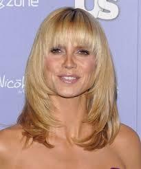 what face shape heidi klum heidi klum long straight formal hairstyle with blunt cut bangs