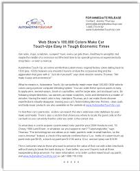 automotive touchup paints press release jerry mctigue copywriter
