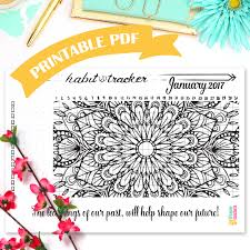 printable habit tracker coloring page mandala coloring page