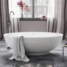 elegant bathroom decor with immaculate small freestanding tub