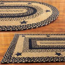 Black And White Braided Rug Black And Tan Braided Rug With Stars Primitive Country Oval