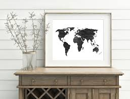 black and white map wood world map printable 10x8 7x5 home decor