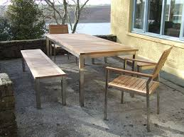 patio table and bench teak bench set the lombok teak and stainless steel bench set