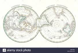 World Map With Hemispheres by 1838 Bradford Map Of The World On Polar Projection Northern And