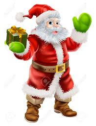 cartoon illustration of santa claus waving and holding a christmas