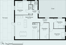 plan maison rdc 3 chambres plan de maison plain pied gratuit unique plan maison rdc 3 chambres