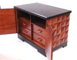 custom made mahogany faceted nightstand cabinet by rj fine woodworking