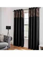 Black Eyelet Curtains 66 X 90 Black Curtains Home U0026 Garden George At Asda
