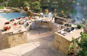 large curvy prefabricated outdoor kitchen islands aside swimming