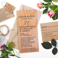 dl size engraved wooden invitations personalised favours