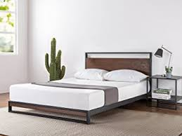 Iron And Wood Headboards by Amazon Com Zinus Ironline Metal And Wood Platform Bed With