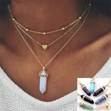multi crystal necklace images Natural opal stone heart choker necklaces vintage summer bohemian jpg