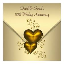 50th wedding anniversary greetings gold hearts gold 50th wedding anniversary card zazzle
