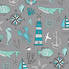 doodle with nautical doodle with whale lighthouse anchor mint aqua blue on