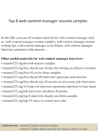 sample journalist resume resume web content writer virtren com top8webcontentmanagerresumesamples 150408080023 conversion gate01 thumbnail 4