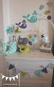 fanion deco chambre décoration chambre enfant bébé garçon vert anis turquoise blanc gris