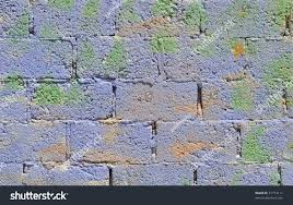 brightly painted concrete block wall blue stock photo 31774111
