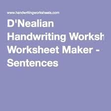 d u0027nealian handwriting worksheet maker sentences homeschool