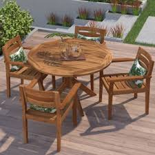 Wooden Patio Table And Chairs Wood Patio Furniture You Ll Wayfair