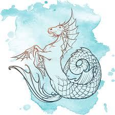 hippocampus or kelpie supernatural beast sketch on a grunge