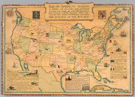Map Americas by Map Of America U0027s Making A Chart Of Places And Events Hist 1952