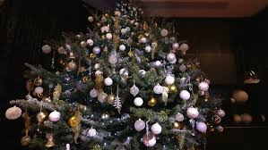 christmas light balls for trees christmas tree decorated with balls in sparkling lights stock