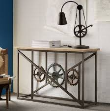 Industrial Console Table Iron Wooden Industrial Console Table With Wheels Featuring Wood