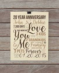 20th anniversary gift personalized 20th wedding anniversary gift 20th with 28 more ideas