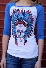 sugar skull blue burnout baseball indian by originalcowgirl