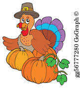vector thanksgiving scroll with turkey 2 clipart drawing