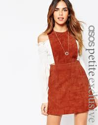 asos petite pinafore dress in suede in brown lyst