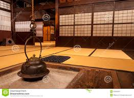 japanese home interiors traditional japanese home interior with hanging tea pot stock